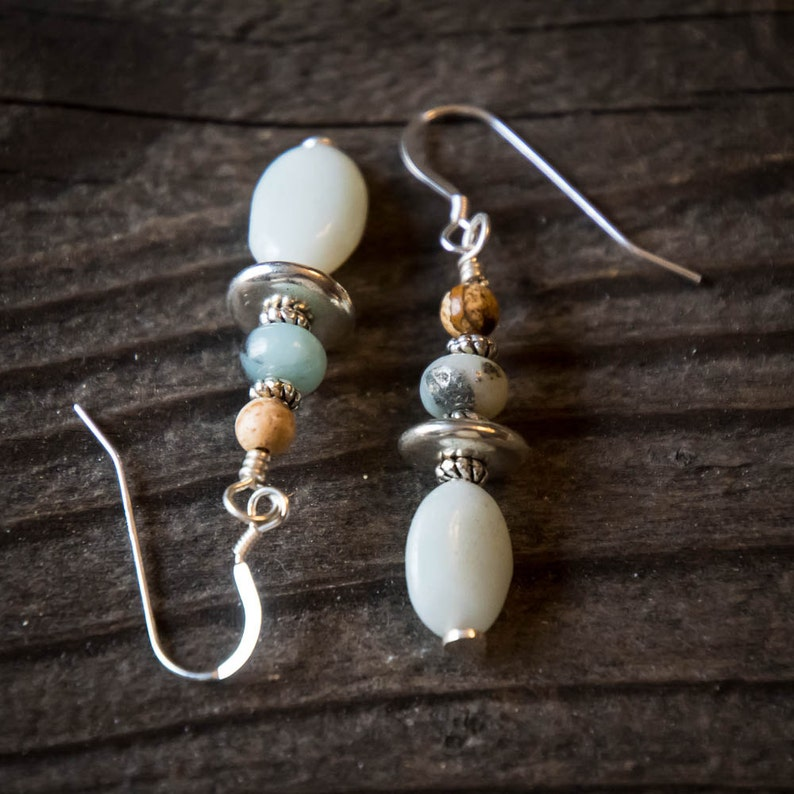 Earrings Amazonite Picture Jasper and Silver image 0