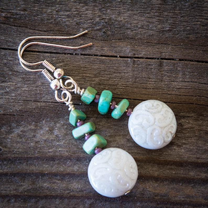 Carved White Glass and Turquoise Earrings image 0