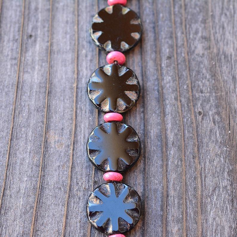 Black and Hot Pink Glass Bracelet image 0