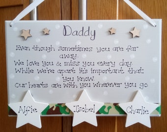 Fathers day gift handmade plaque for Dad Daddy personalised fathers day gift