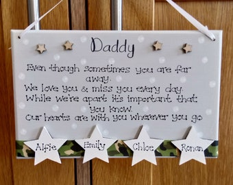 Personalised Daddy With You Wherever You Go Army Gift Plaque, Army Dad, Military, Armed Forces, Family, Father's Day gift, Soldier, Sign
