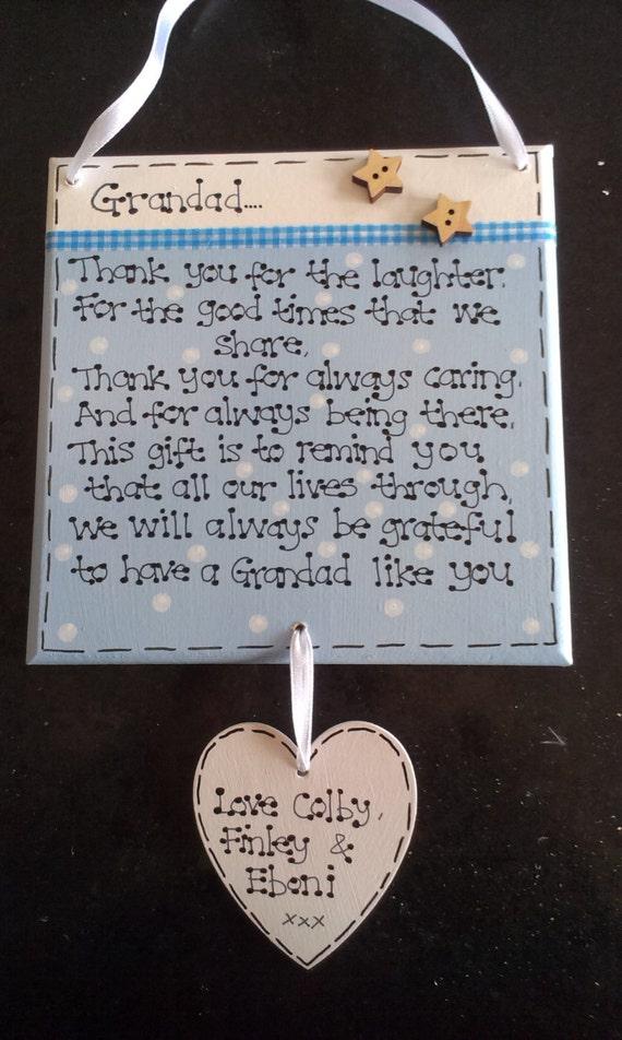 Handgefertigte Holz Personalisiert Papa Opa Väter Tag Danke Gedicht Geschenk Plaque