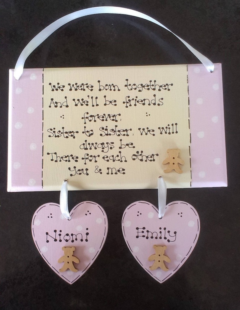 RED OCEAN Born Together Friends Forever Twins Keepsake Gift Hanging Plaque Family Sign