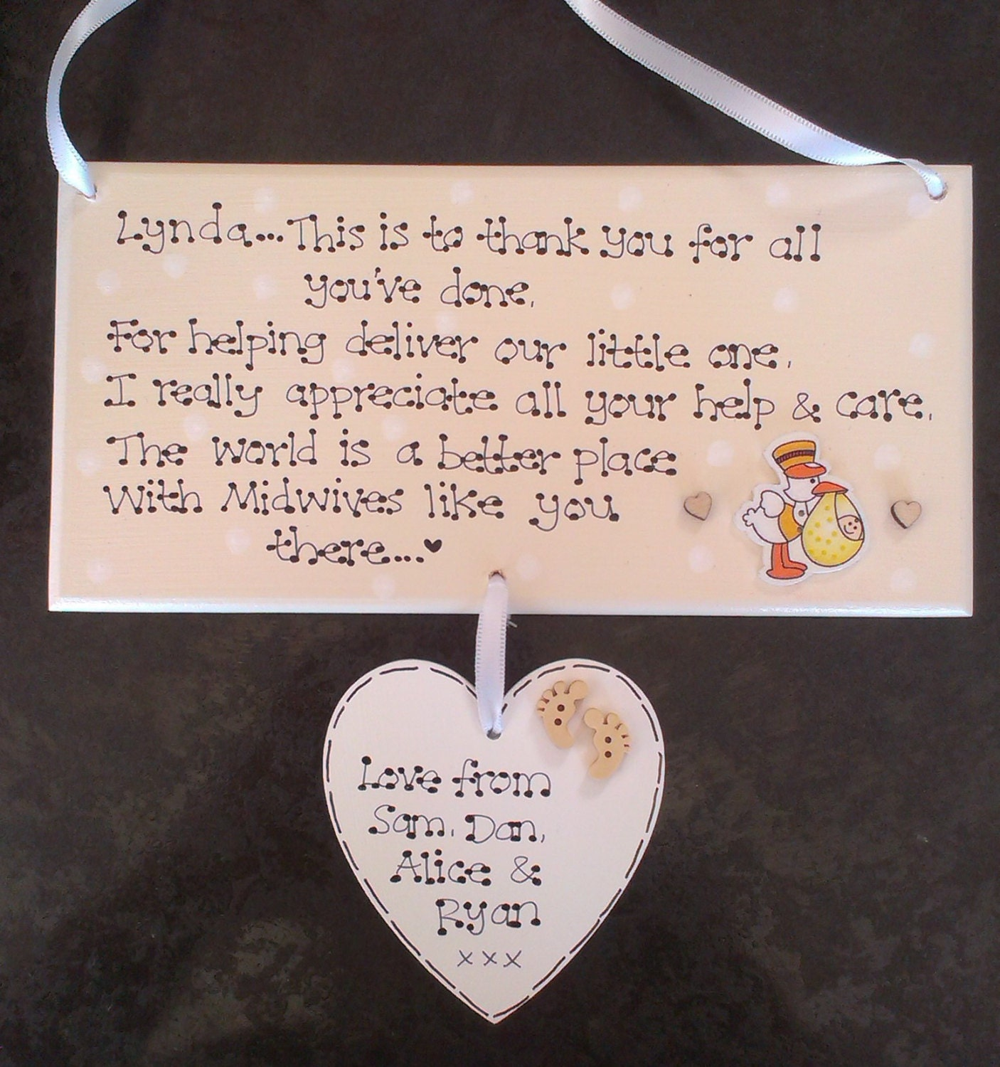 Personalised Midwives Midwife Doula New Baby Birth Thank You