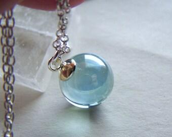 Crystal ball pendant etsy aqua aura quartz crystal ball pendant necklace aloadofball Image collections