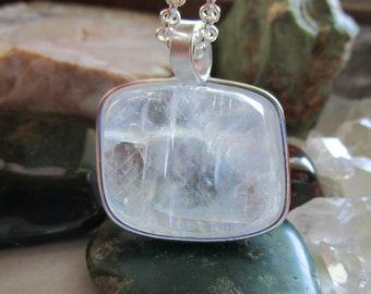 Iceland Spar Viking Sunstone Polished Optical Calcite Crystal Pendant Necklace