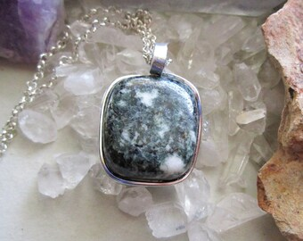 Ancient Preseli Stonehenge Bluestone Wired Wrapped Pendant Necklace
