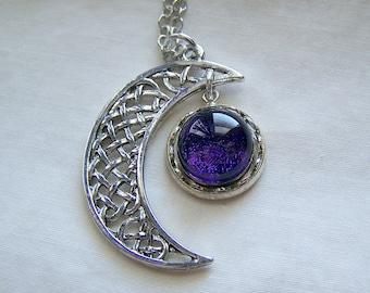 Silver Celtic Moon Purple Dichroic Twinkle Glass Pendant Necklace