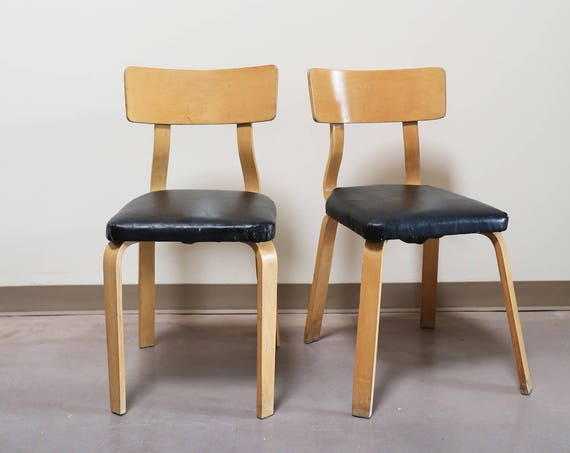 Pair Vintage John Stuart Bentwood Side Chairs