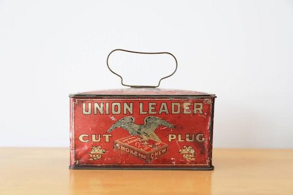 1800's Union Leader Cut Plug Tobacco Tin