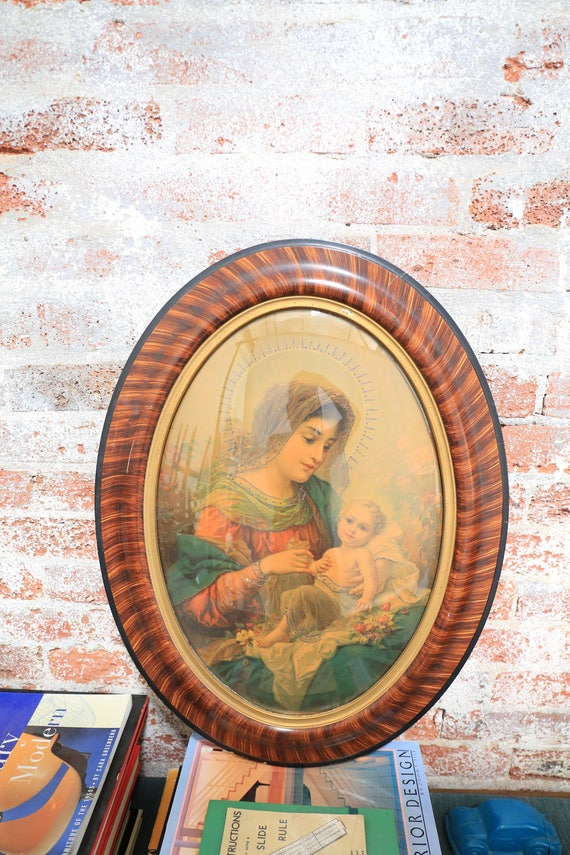 Madonna and Child in Oval wooden Frame