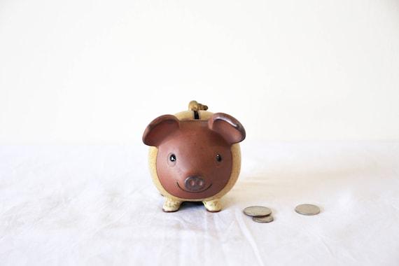 Artisanal Ceramic Pig Coin Bank - Piggy Bank