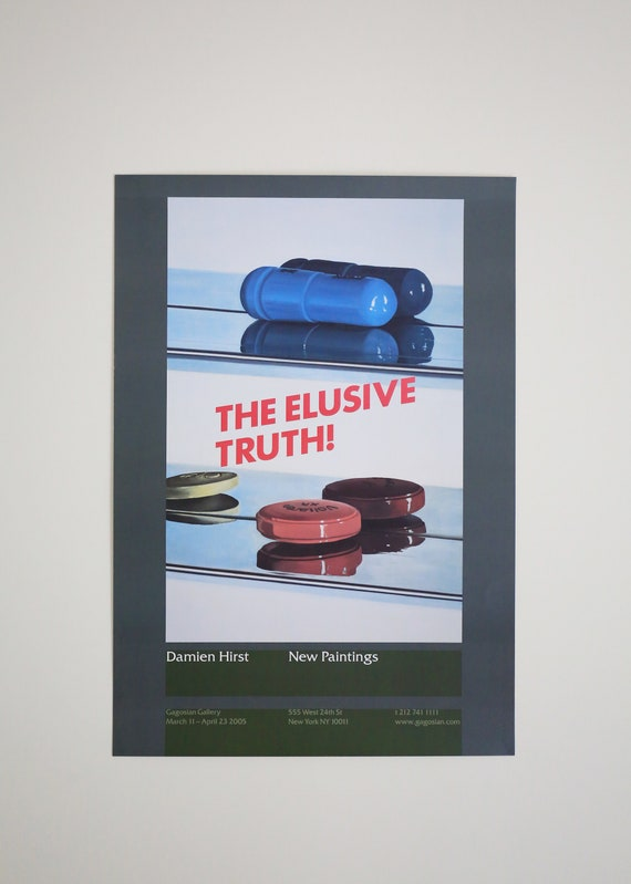 Original Damien Hirst - The Elusive Truth (Two Pills) Gagosian Exhibition Offset Lithograph Poster
