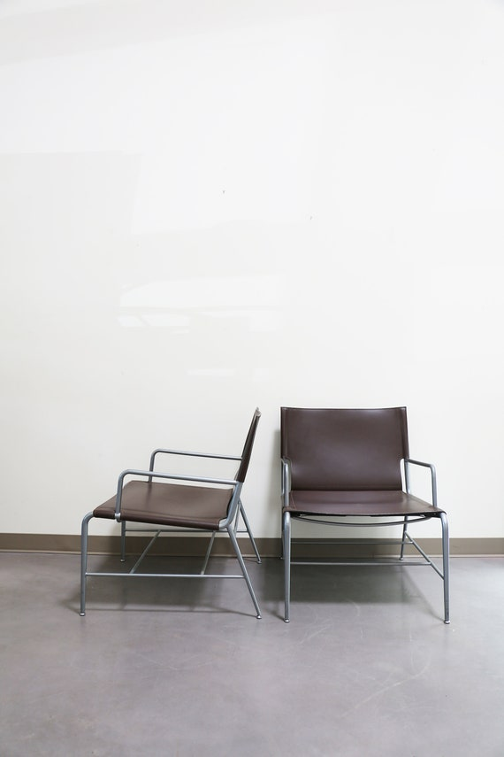 Sold *** Pair HBF Hickory Business Lounge Chairs - Brown Leather
