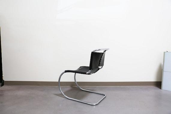 Sold *** Vintage Mies Van Der Rohe MR Side Chair - Black Leather