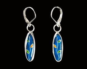 Cloisonne Enamel Vine Earrings