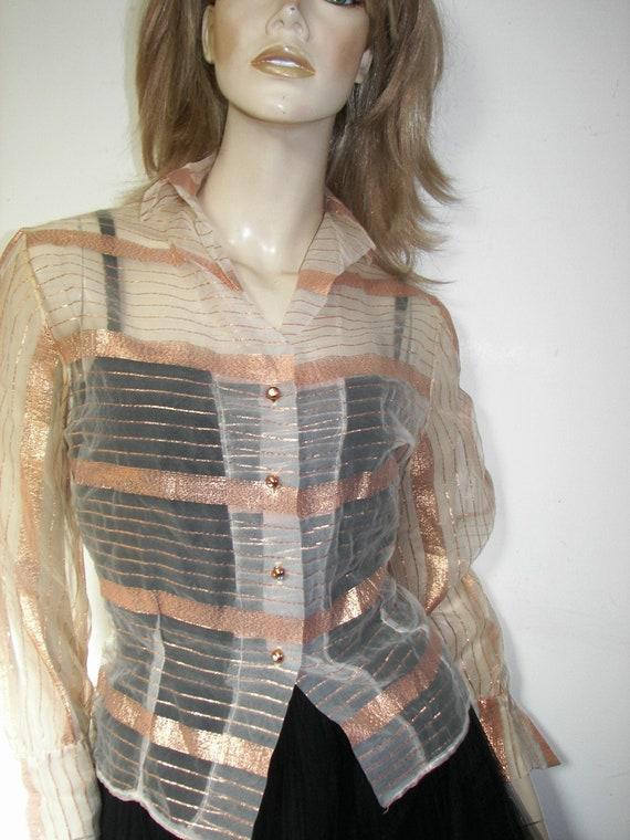 50s DuPont Lurex Holiday Copper blouse, Embellishe