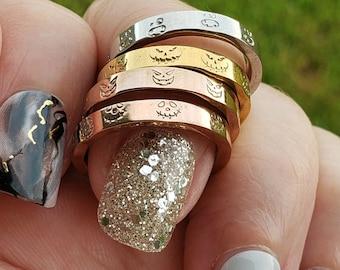 Halloween Ring, Scary Face Ring, Gold Halloween Ring, Silver Halloween Ring, Rose Halloween Ring, Jack O Lantern Ring, Halloween Stack Ring