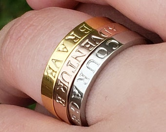 Simple Custom Ring, New Mom Ring, Rose Silver Gold Ring, Custom Name Ring, Personalized Stackable Ring, Message Ring, Stacking Ring, Custom