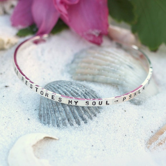 Hand Stamped Bible Bangle Bracelet