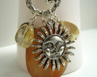 Sunshine Talisman Necklace / Stone and Charm Necklace / Agate Citrine Jasper / Sun & Bee / Long Charm Necklace