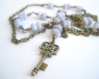 Blue Lace Agate Necklace / Key Necklace / Natural Stone / Brass Key Vintage Style / Antique Brass / Wisteria Periwinkle Whisper Blue