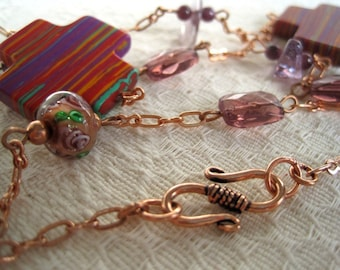 Amethyst Artisan Necklace / Copper Chain / Lampwork Floral Beadwork / Bohemian Eclectic Style / Beaded Gemstone & Chain Necklace