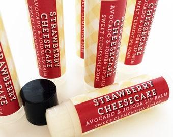 Strawberry Cheesecake Lip Balm, Lip Gloss, Moisturizing Avocado and Jojoba Oil Lip Balm