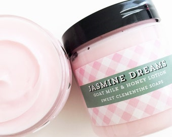 Jasmine Dreams Body Butter Lotion, Goat Milk Hand and Body Cream, Floral, Jasmine, 5oz