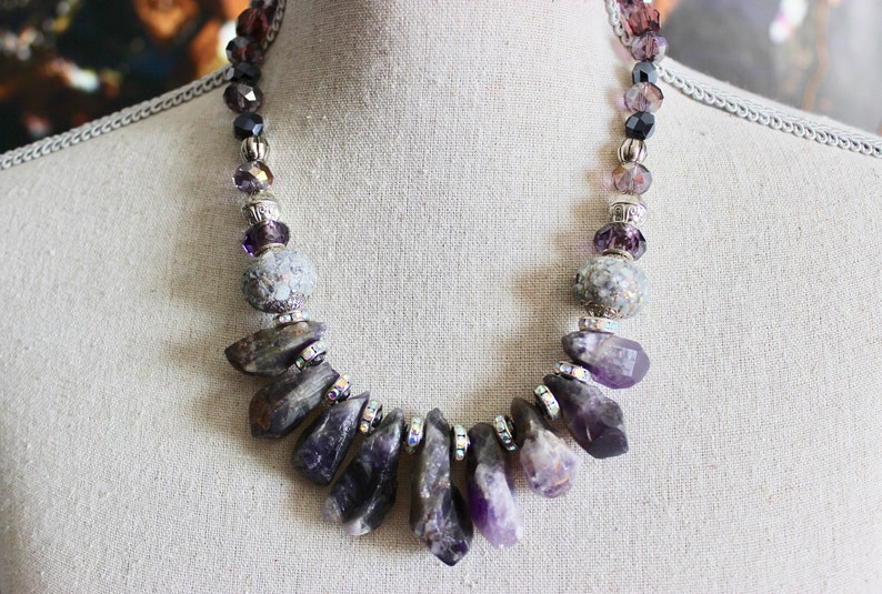 Amethyst Crystals Rhinestones Statement Necklace Rough Natural Stone Amethyst Necklace