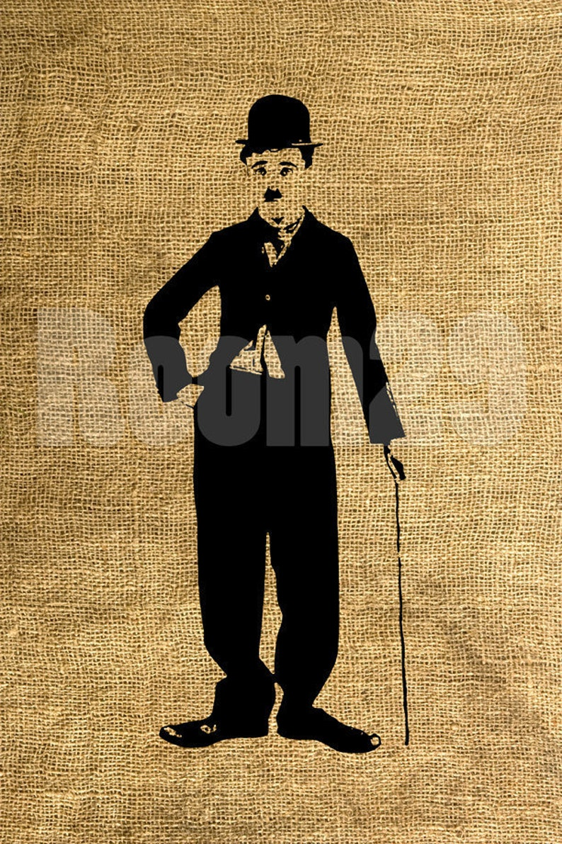 Instant Download Charlie Chaplin Image Transfer For Tote Etsy