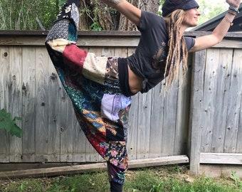 Patchwork Harem Pants, Size S/M, eco harem pants, recycled clothing,hippy pants, flow pants,festival pants, gypsy pants,rainbow pants, Zasra