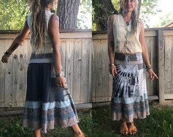 Patchwork Eco short boho Skirt, XS/S, patchwork skirt, funky skirt, eco clothing, jersey skirt, rust skirt, butterfly applique skirt,  Zasra