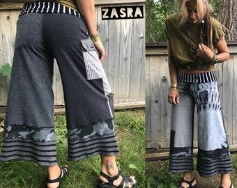 Cropped gaucho Eco PANTS, Size S/M,patchwork pants, jersey capris, hippy pants,yoga pants,tie dye pants, beatles pants,black pants, Zasra