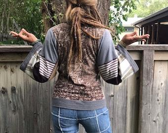 Eco  Wrap Jacket, size XS to M, wrap jacket,hippie jacket, festival jacket, patchwork jacket, jersey wrap, patchwork wrap, Zasra
