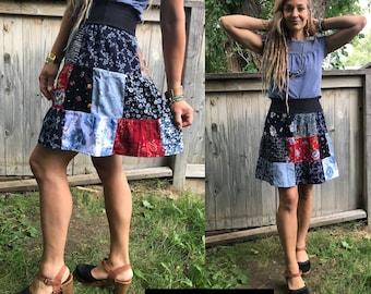 Eco mini SKIRT, size XS to M, Eco Clothing, patchwork skirt, eco skirt, upcycled mini skirt, festival skirt, boho skirt, gypsy skirt, Zasra