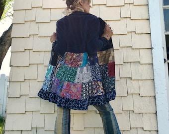 Patchwork Jacket, Size S/M, festival jacket, patchwork blazer, eco jacket, upcycled jacket, hippy coat, corduroy jacket, Zasra