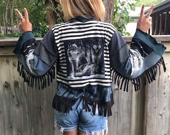 Eco Wrap Jacket, size S- L, kimono jacket, festival jacket, boho  jacket,cropped jacket, hippy jacket, black wrap, wolf  applique, Zasr