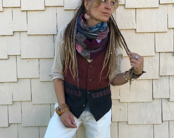 Jersey Infinity SCARF, Upcycled scarf, patchwork scarf, chunky scarf, urban scarf, scarf, eco scarf,jersey scarf, earthy rich mix,Zasra