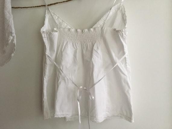 White cotton eyelet baby doll pajama set top shor… - image 4
