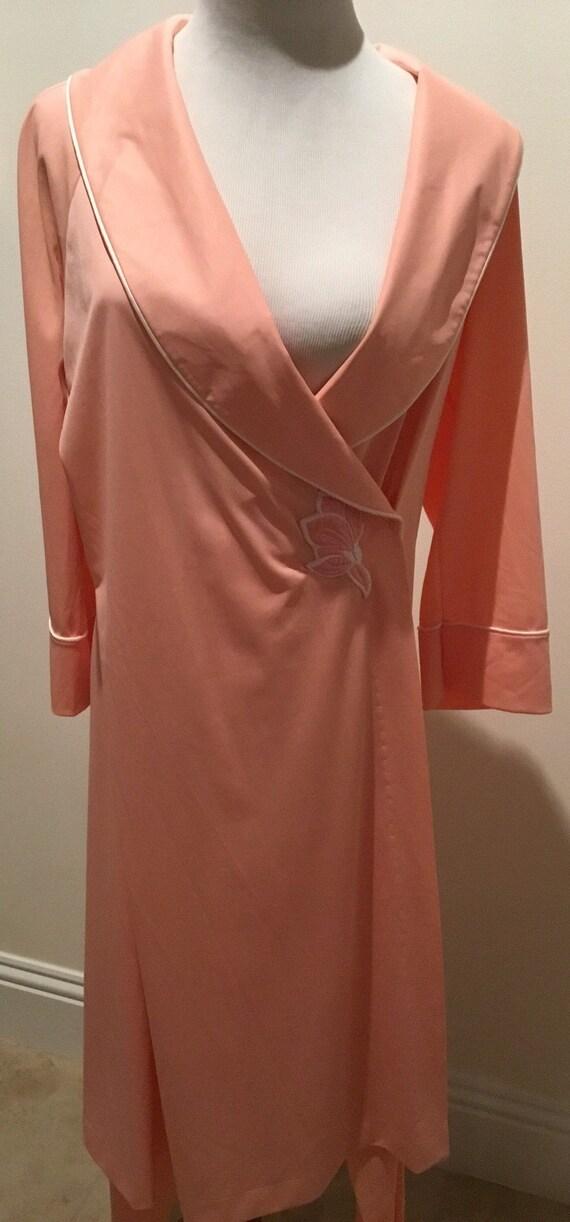 Vintage Vanity Fair Peach Pink Robe Set pajamas sm