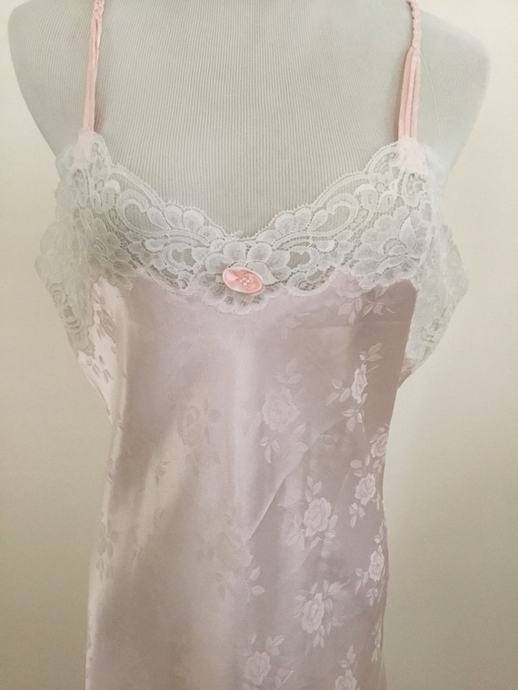 Christian Dior Vintage Pink White Lace long nightg