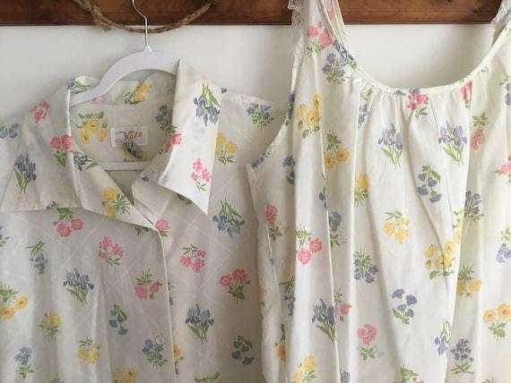 Rare Floral Katz Nightgown Robe Set Nightie Summer