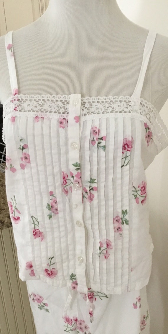 Vintage Laura Ashley Pajama Set Camisole Floral Ad