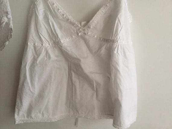 White cotton eyelet baby doll pajama set top shor… - image 2