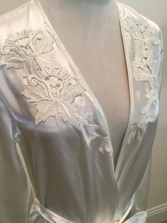Vintage white satin long wrap style robe appliqués