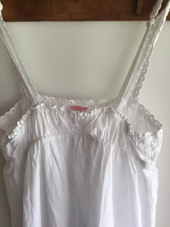 White cotton eyelet baby doll top or nightgown XS… - image 3