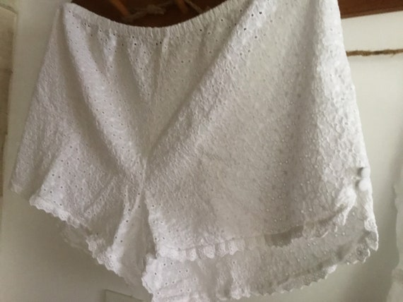 White cotton eyelet baby doll pajama set top shor… - image 5