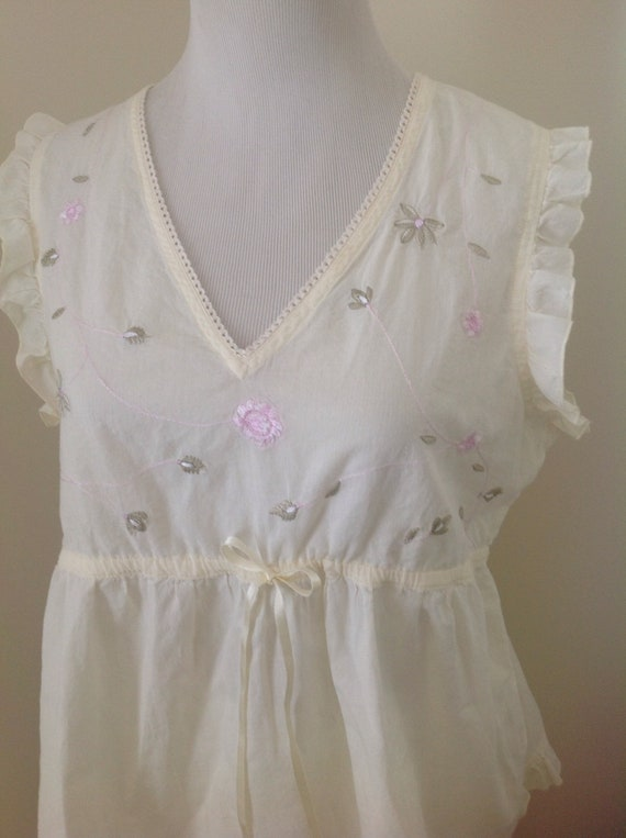 Laura Ashley Adorable Cotton Light Yellow Embroide