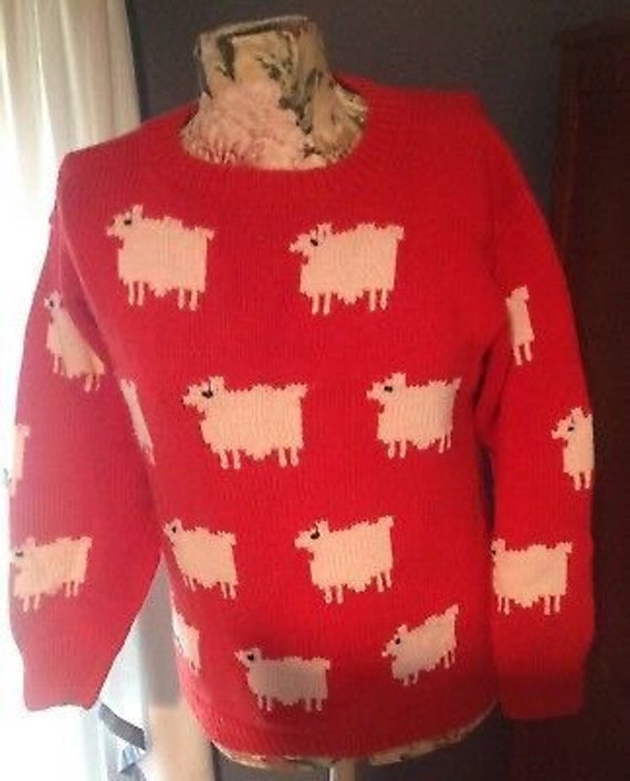 Red Sheep Cotton Sweater Pullover Princess Diana